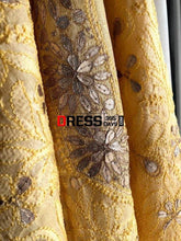 Load image into Gallery viewer, Golden Yellow Gota Patti Chikankari Kurti Fabric