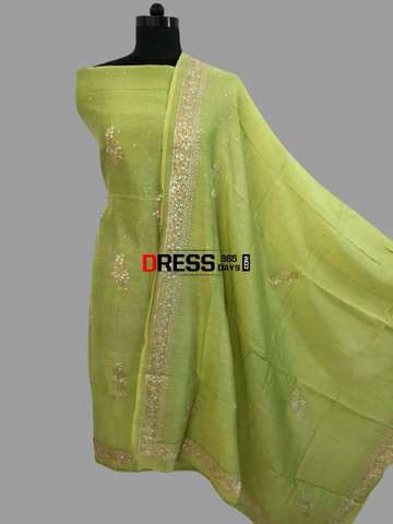 Green Aari Work Chanderi Suit