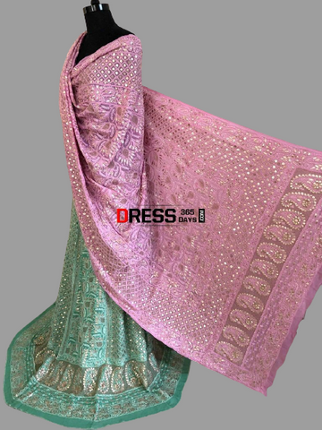 Green Lucknowi Chikankari Gota Patti Lehenga with Hot Pink Dupatta