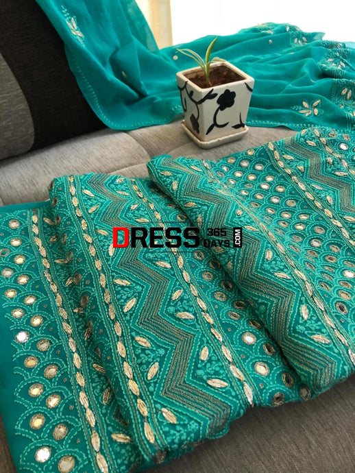 Green Mirror & Gota Patti Chikankari Suit Suits