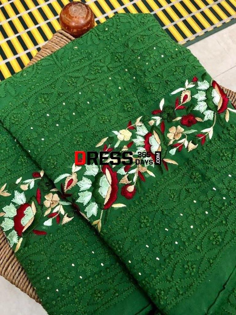 Green Parsi Gara Chikankari Suit Suits