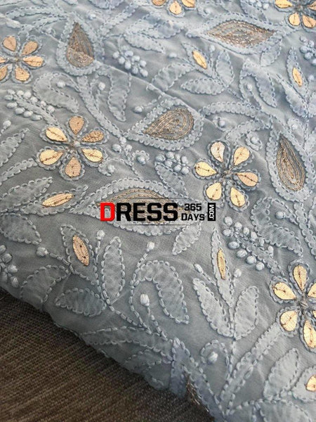 Grey Gota Patti Chikankari Suit Suits