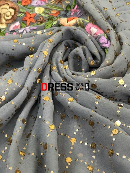 Grey Kamdani And Parsi Gara Suit Suits