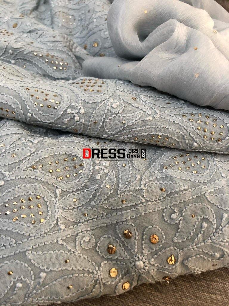 Grey Mukaish Chikankari Kurta Dupatta Suits