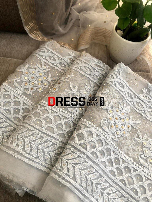 Grey Organza Mukaish Chikankari Suit Suits