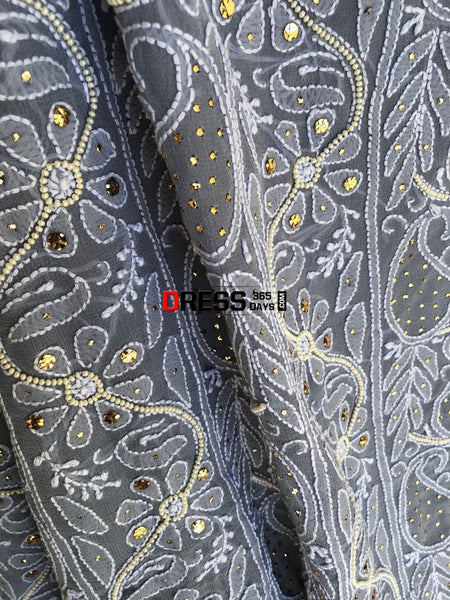 Grey Pearl And Chikankari Mukaish Suit Suits