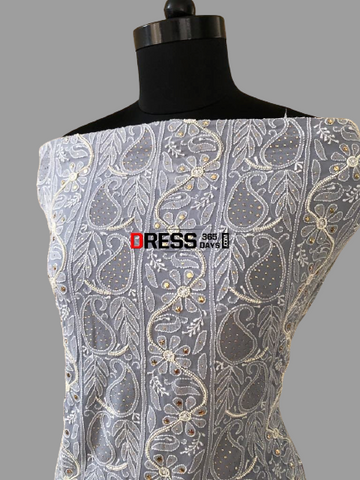 Grey Pearl and Chikankari Mukaish Suit