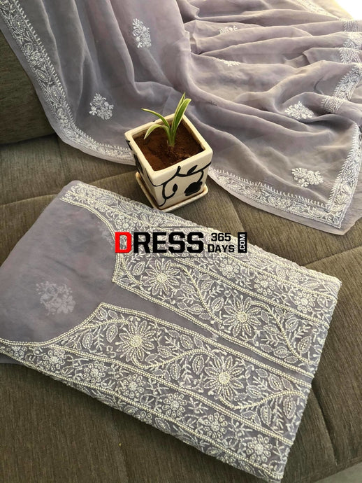 Grey Pearl Lucknowi Chikankari Suit Suits