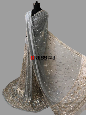 Grey Ring Mukaish Lehenga Set