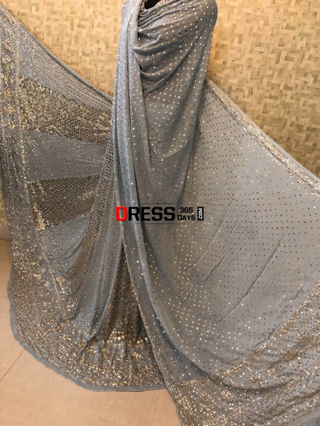 Grey Ring Mukaish Lehenga Set Chikankari