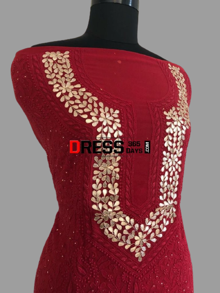 Hand Crafted Red Chikankari Suit with Gota Patti Neckline