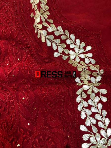 Hand Crafted Red Chikankari Suit With Gota Patti Neckline Suits