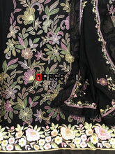 Load image into Gallery viewer, Hand Embroidered Black Parsi Gara Chikankari Suit (Three Piece) Suits
