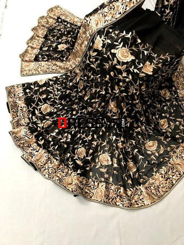 Hand Embroidered Black Parsi Gara Saree