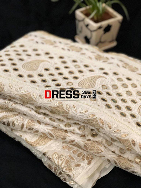 Hand Embroidered Chikankari Gota Patti And Mirror Work Saree