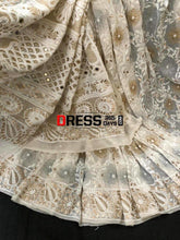 Load image into Gallery viewer, Hand Embroidered Chikankari Gota Patti And Mirror Work Saree