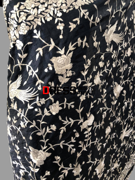 Hand Embroidered Grey And Ivory Parsi Gara Saree (Tussar Silk)