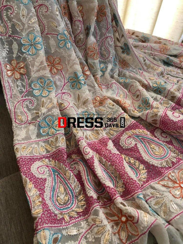 Hand Embroidered Multicolour Chikankari Gota Patti Dupatta