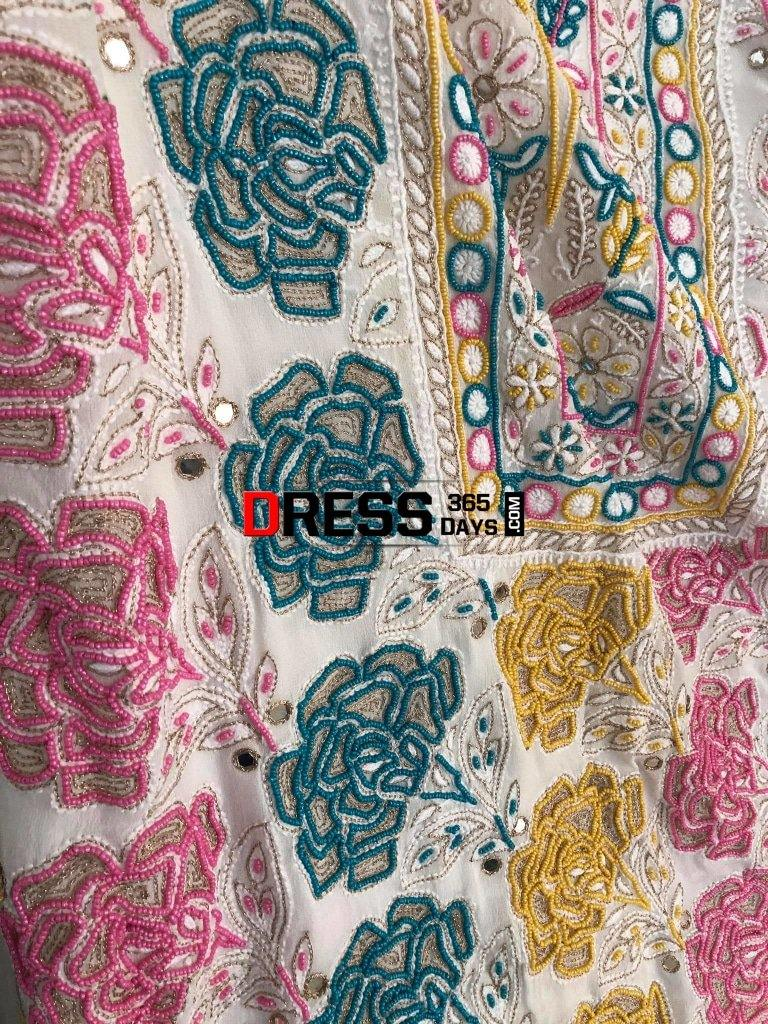 Hand Embroidered Multicolour Pearls Chikankari Suit Suits