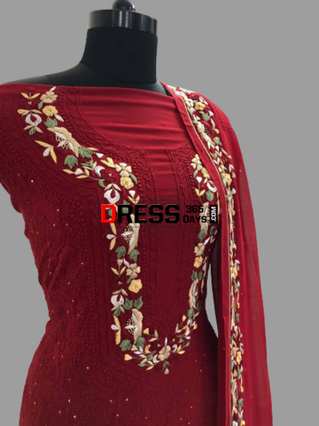 Hand Embroidered Red Parsi Gara Chikankari Suit Suits