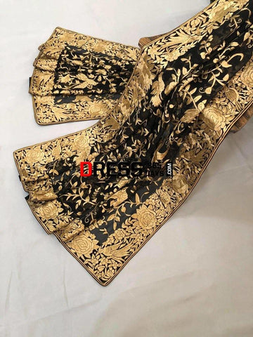 Heirloom Black And Gold Hand Embroidered Parsi Gara Dupatta