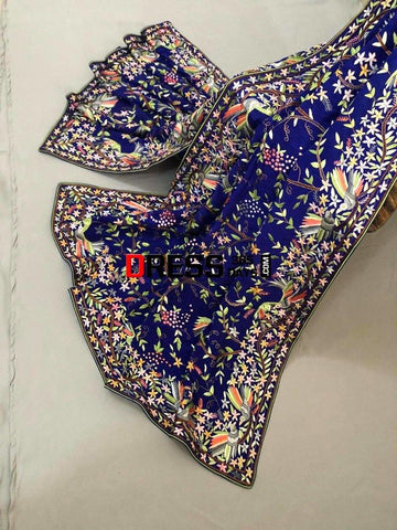 Heirloom Hand Embroidered Multicolour Parsi Gara Dupatta (Pure Crepe)