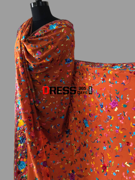 Heirloom Hand Embroidered Parsi Gara Dupatta (Pure Crepe)
