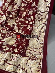 Heirloom Hand Embroidered Red And Ivory Parsi Gara Dupatta