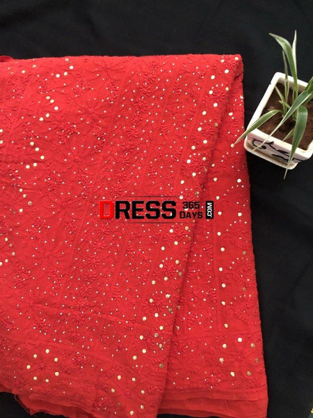 Heirloom Pick Red Chikankari And Kamdani Work Saree