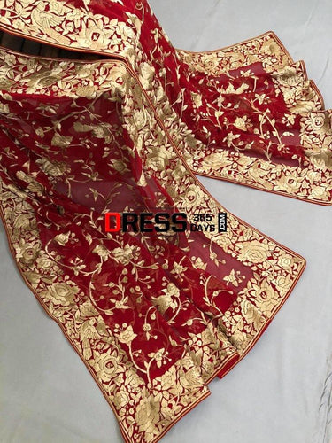 Heirloom Red And Gold Hand Embroidered Parsi Gara Dupatta