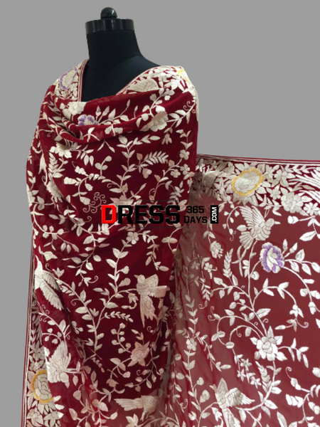 Heirloom Red And Ivory Parsi Gara Dupatta (Pure Georgette)