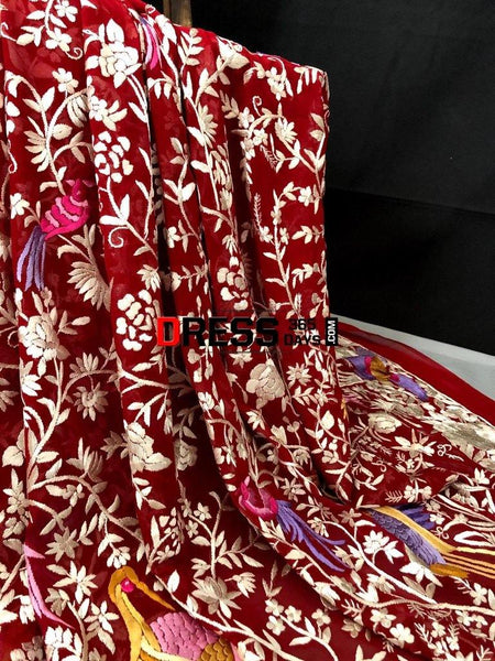 Heirloom Red Hand Embroidered Parsi Gara Saree