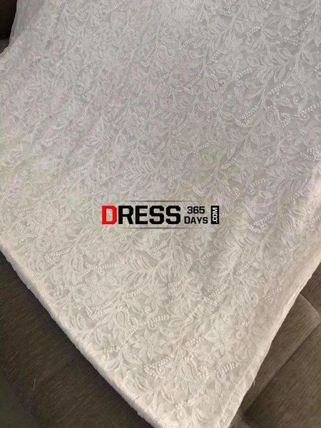 Ivory Chikankari Running Fabric-Pure Georgette Suits