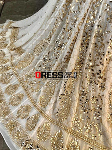 Ivory Golden Kamdani And Pearl Anarkali Suit