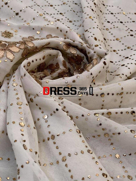 Ivory Gota Patti & Kamdani Suit Suits