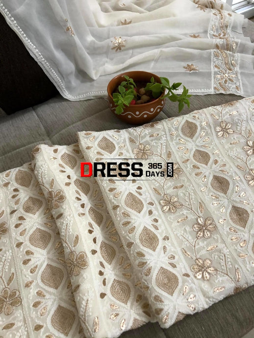 Ivory Gota Patti Lucknowi Chikankari Suit Suits
