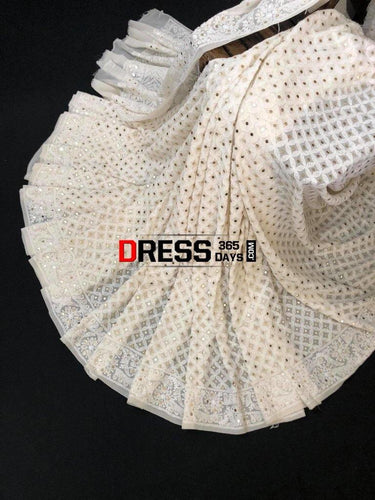 Ivory Hand Embroidered Chikankari And Kamdani Saree