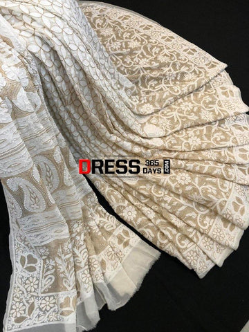 Ivory Hand Embroidered Chikankari Saree- Pearls And Zari Work Saree