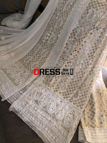 Ivory Hand Embroidered Kamdani Chikankari Sharara Set Suits