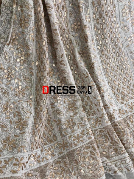 Ivory Hand Embroidered Zari Gota Patti Chikankari Anarkali Suit