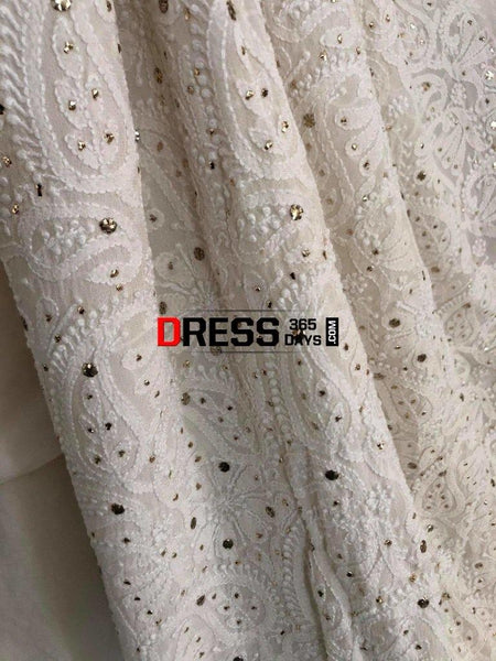 Ivory Kamdani Chikankari Three Piece Suit With Embroidered Sleeves Suits