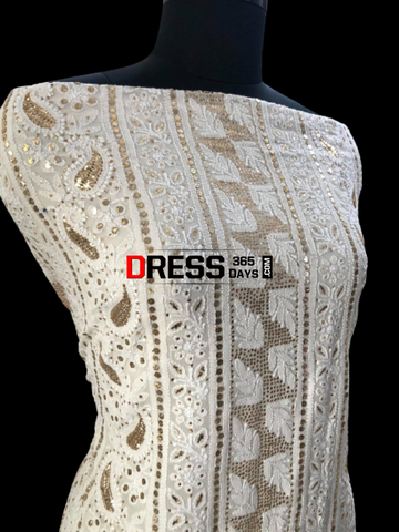 Ivory Kamdani Lucknowi Chikankari Suit Suits