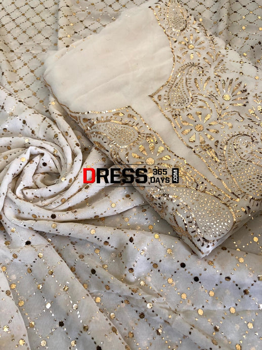 Ivory Kamdani Suit With Heavy Dupatta