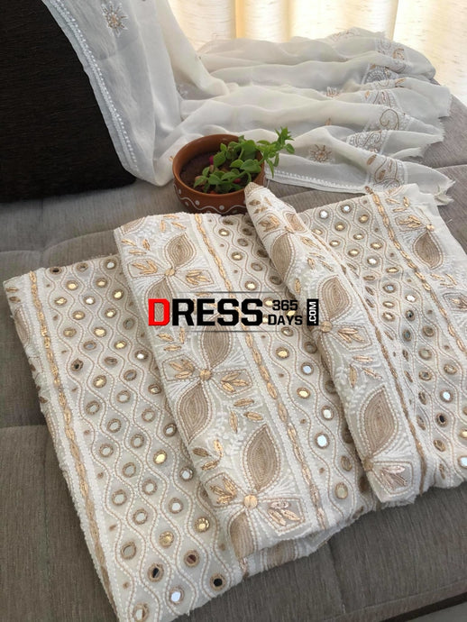 Ivory Mirror & Gota Patti Chikankari Suit Suits