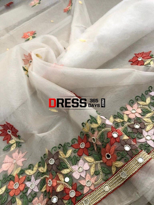 Ivory Organza Beads Chikankari Suit Suits