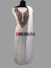 Load image into Gallery viewer, Ivory Pure Georgette Multicolour Embroidery Kamdani Suit Parsi Gara Suits