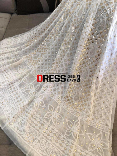 Ivory Ring Mukaish Chikankari Anarkali Suit