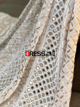 Load image into Gallery viewer, Ivory White Lucknowi Chikankari Mirror Anarkali Suit