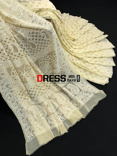 Lemon Yellow Chikan Mukaish Saree Chikankari