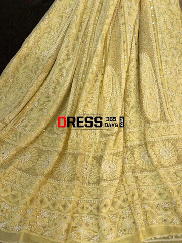 Lemon Yellow Mukaish Chikankari Anarkali Suit